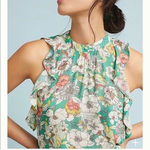 Anthropologie maEve Green Floral Sleeveless Top